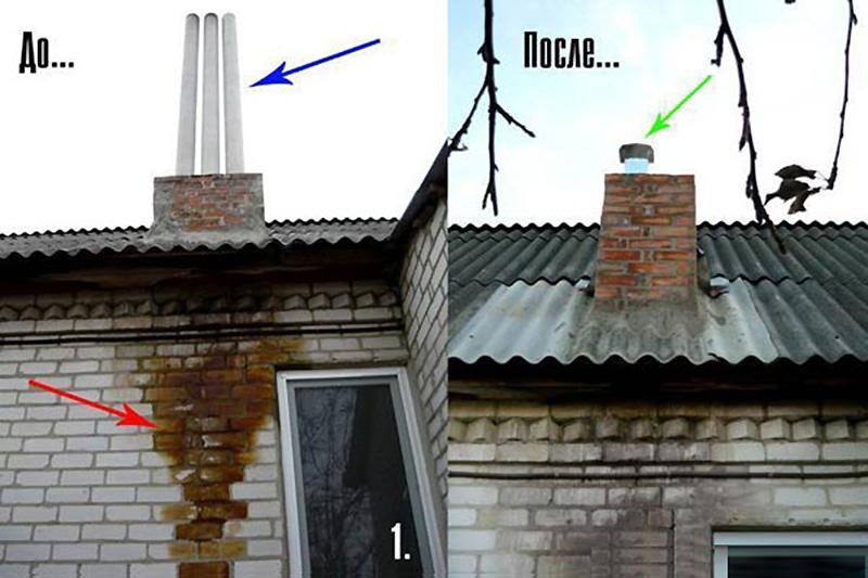 Результат утепления асбесто-цементного дымохода