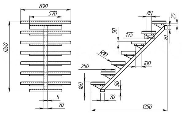 Схема-чертеж лестничной конструкции в 2 проекциях на 1 косоуре