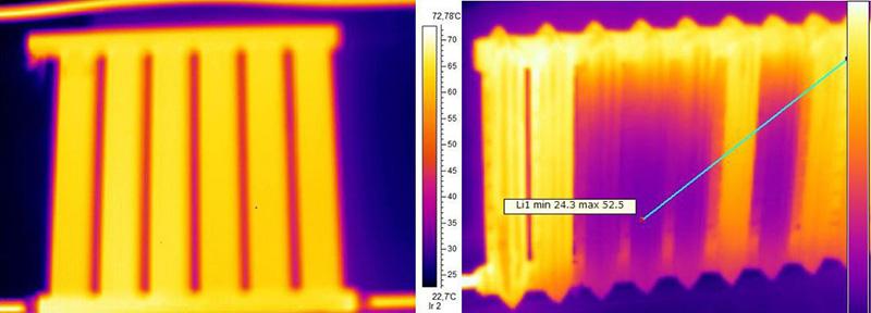 Зависимость распределения температуры в разных схемах отопления