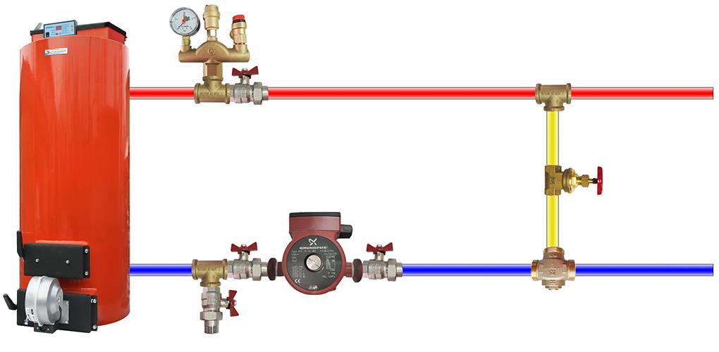 Дополнительные узлы в соединении котла и труб