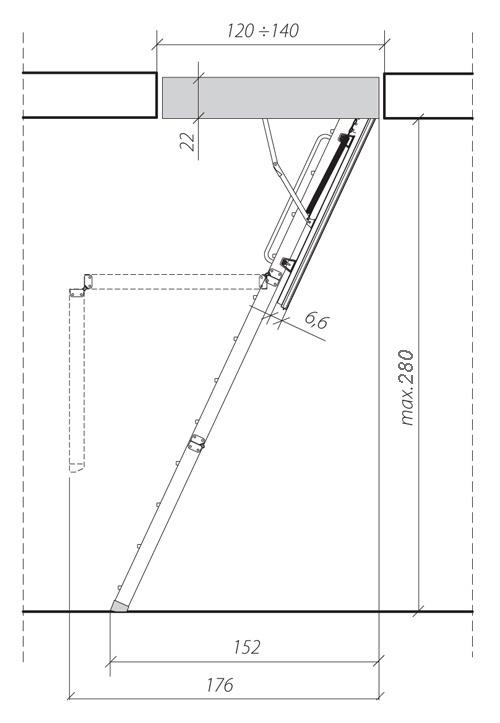 Примерная схема складной лестницы с люком