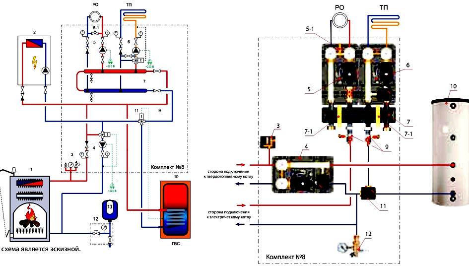 схема подключения твердотопливного котла с газовым