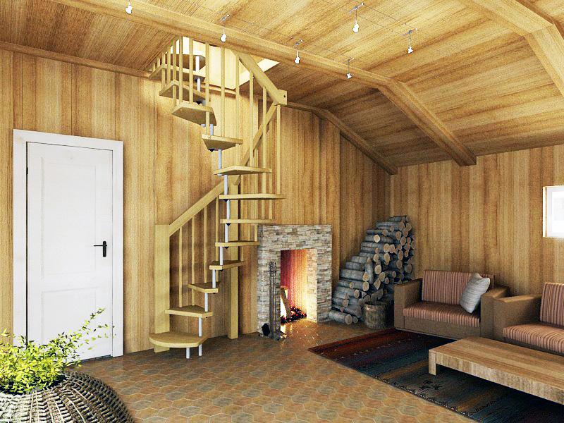 Мансардная винтовая лестница