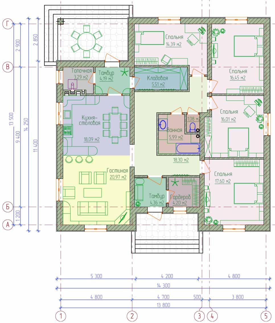 Схема помещения может выглядеть таким образом