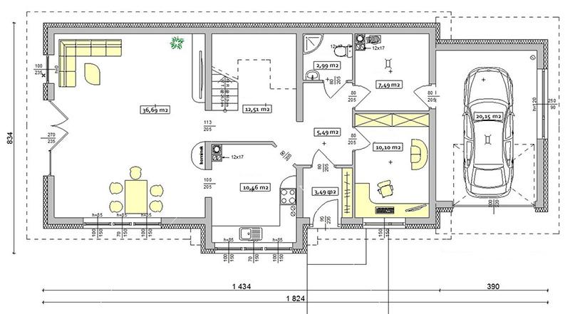 Проект дома в один этаж с гаражом
