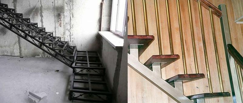 Типы лестничных каркасов: слева – закрытый, справа – открытый с проступями на двух косоурах