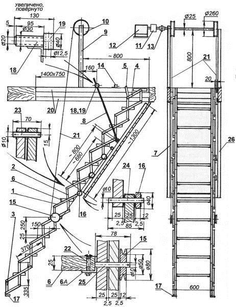 Еще одна типовая схема чердачной лестницы