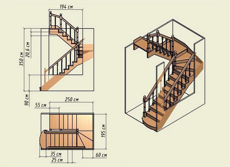 Маршевая винтовая конструкция лестницы