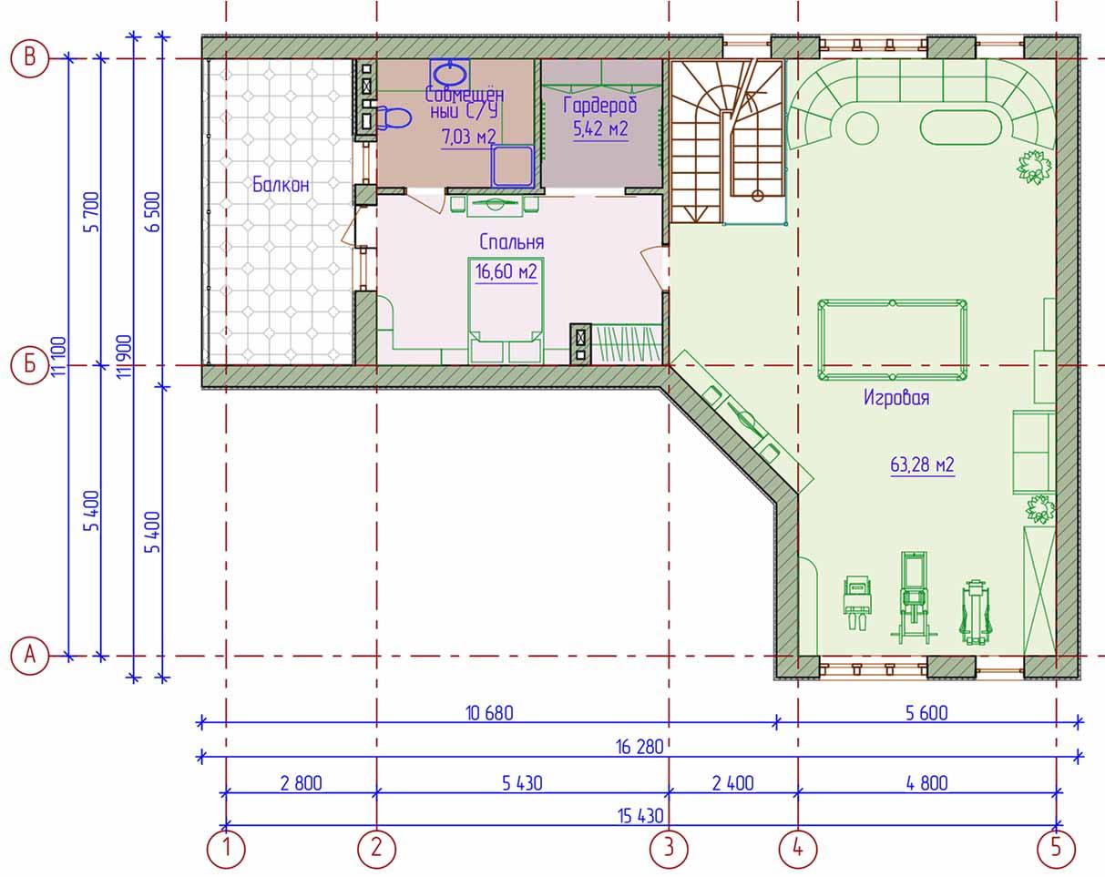 В доме, построенном по такому чертежу, можно расширить жилую площадь
