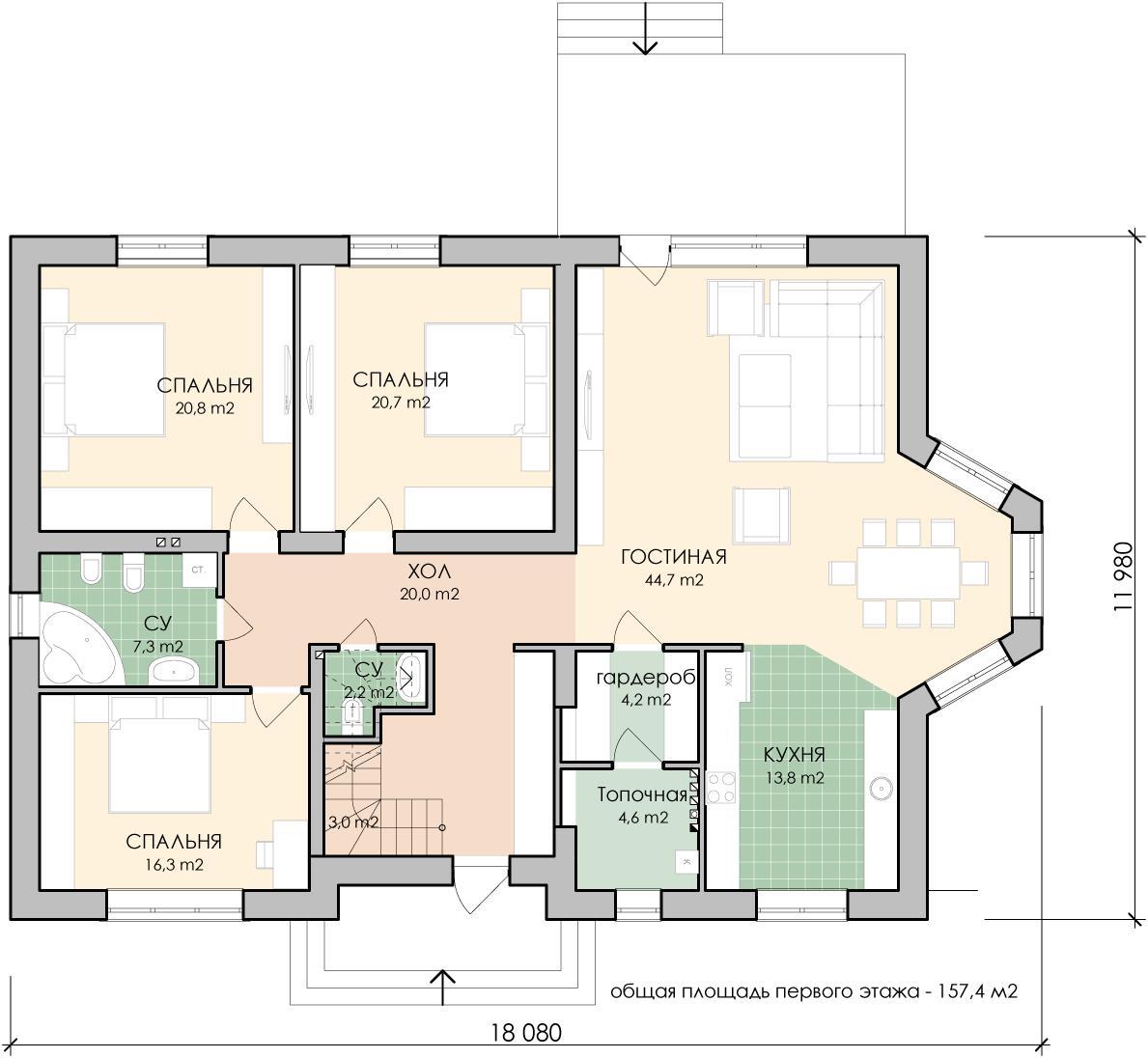 Примерная планировка дома площадью 150 кв.м.