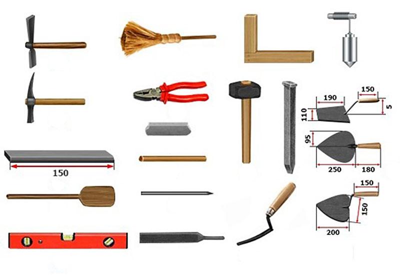 Инструменты и материалы для строительства печи