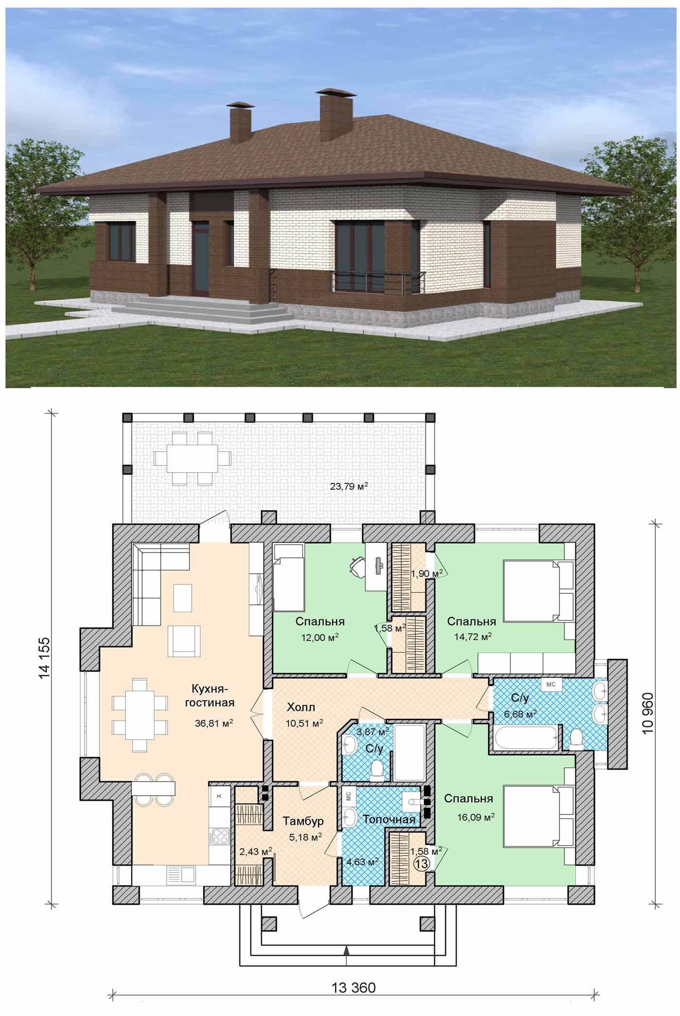 Внешне небольшой дом может быть очень вместительным и функциональным