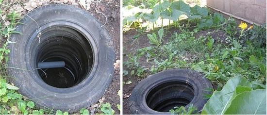 Одним из наиболее дешевых вариантов является оборудование сливной ямы покрышками. Используется конфигурация «яма без дна», что позволяет воде уходить вниз, в более глубокие слои почвы.