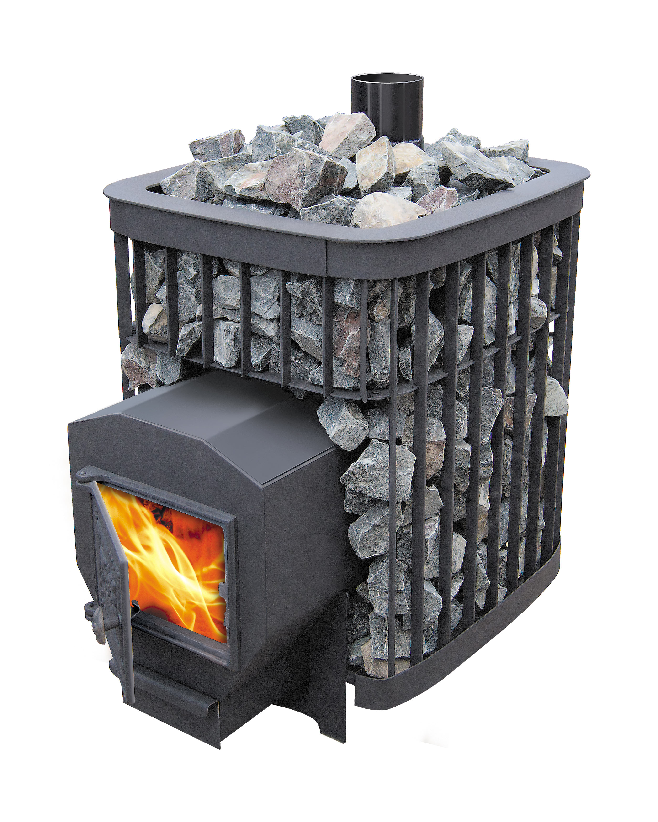 Металлическая печь с открытой каменкой