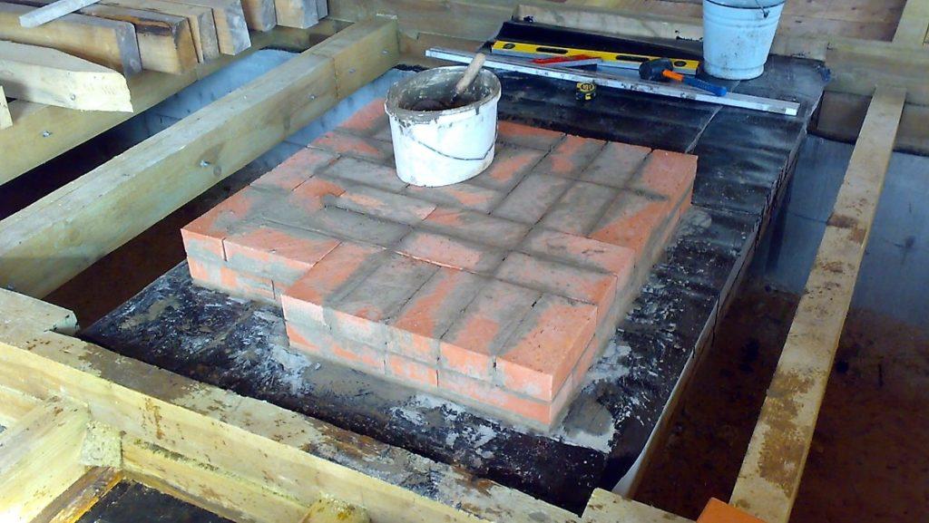 Формирование фундамента под металлическую банную печь