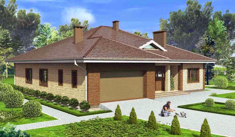 Просторный дом 15 на 15 с гаражом