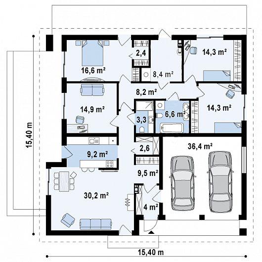 Схема одноэтажного дома с гаражом