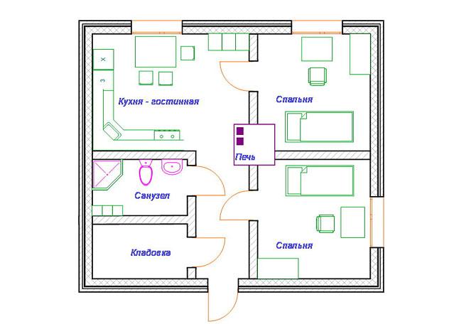 План небольшого, но уютного одноэтажного дома