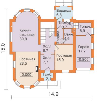 Удачный проект одноэтажного дома с верандой
