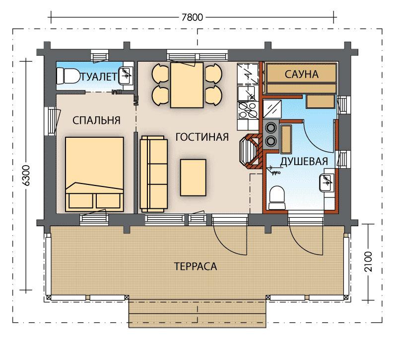 план одноэтажного дома с сауной