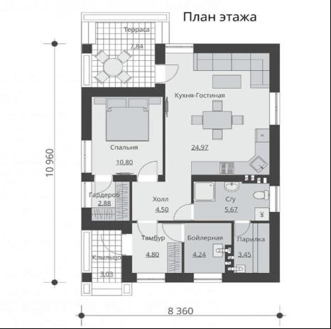 Проект дома с террасой – то, что нужно для размеренного времяпрепровождения загородом