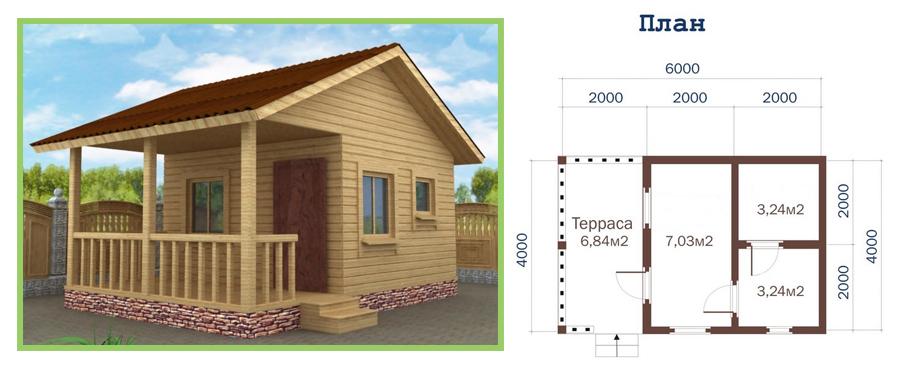 Проект небольшого дома с террасой 4х6