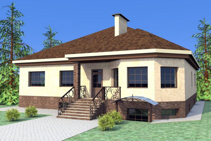 Проект дома в один этаж с цокольным полуподвалом