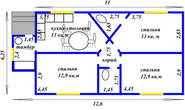 Планировка с удачным размещением помещений в доме