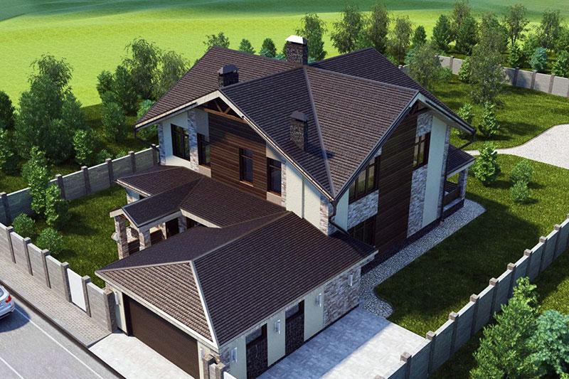 3-D визуализация проекта дома с многощипцовой крышей