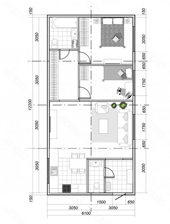 Быстровозводимый одноэтажный дом (планировка)