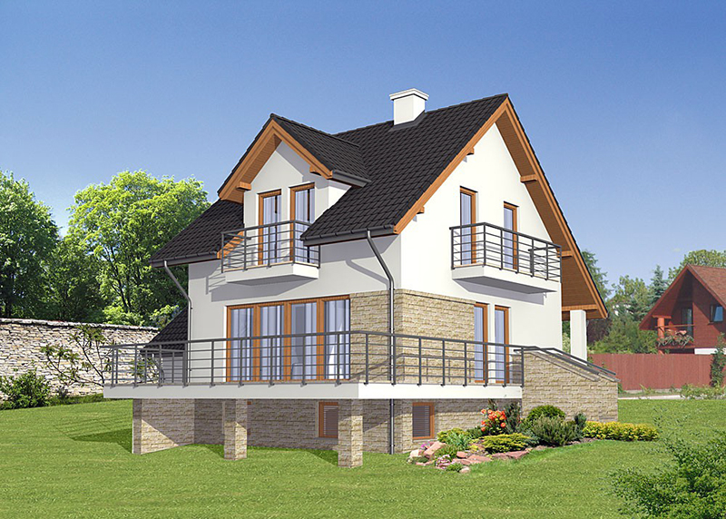 Дом с цоколем на уклоне