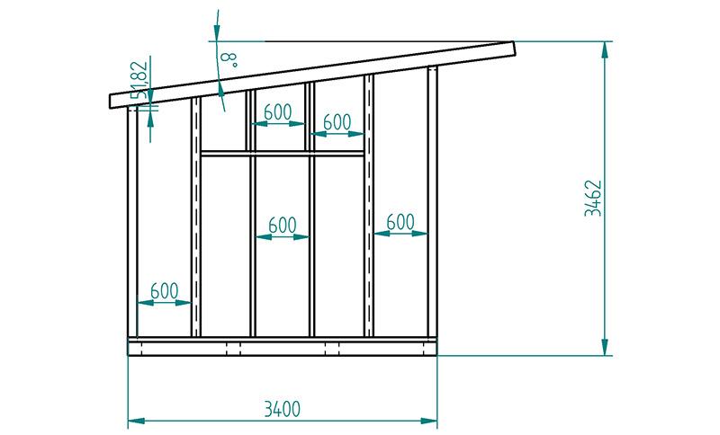 Принципиальная схема и размеры сарая с односкатной крышей