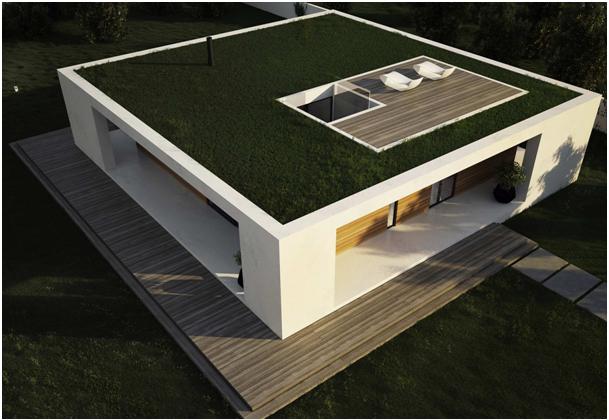 Плоская крыша загородного дома, застеленная газоном
