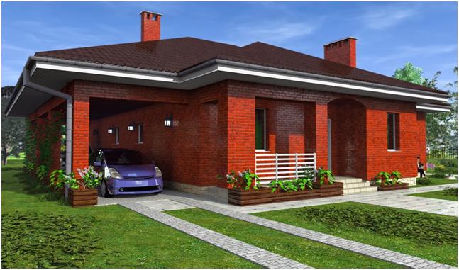 Одноэтажный коттедж из кирпича с местом для гаражем