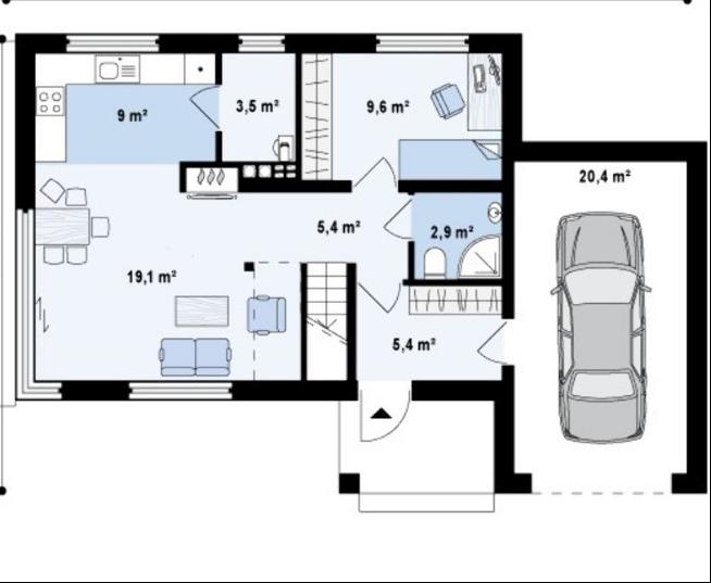 Дом с функциональной планировкой и гаражом