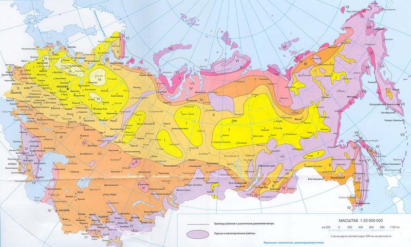 Карта ветровой нагрузки по регионам РФ
