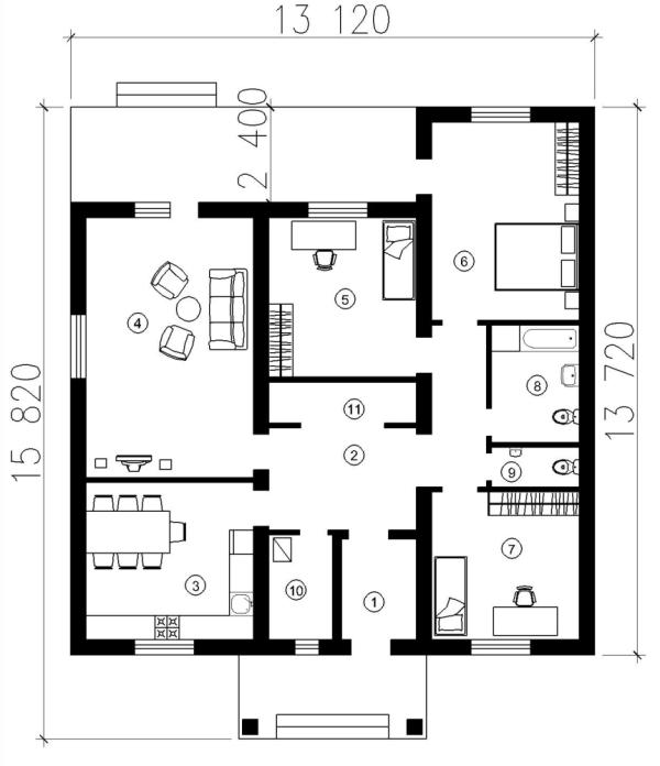 Коттедж 13 на 13 с удачной планировкой комнат
