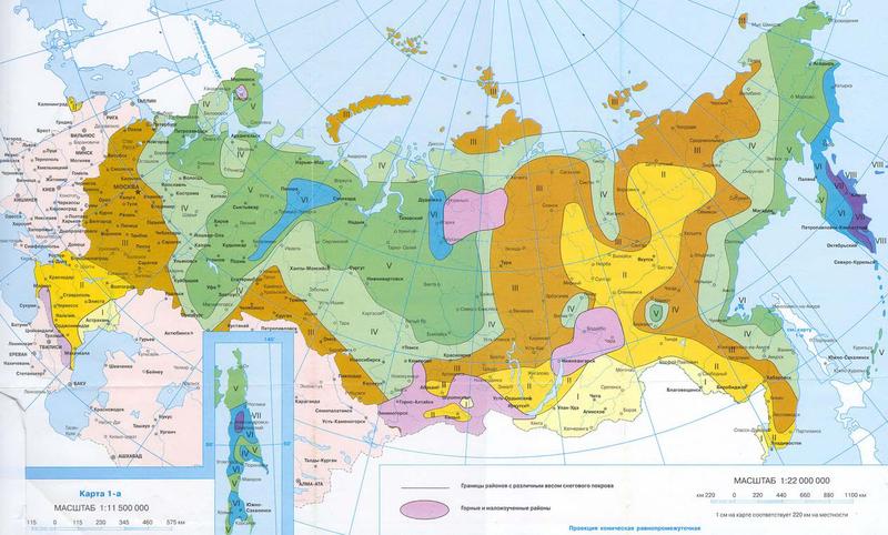 Карта снеговой нагрузки по регионам РФ