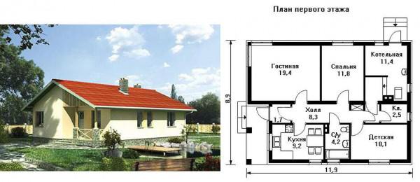 Просторный дом площадь до 100 кв. м.