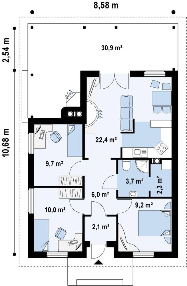 Типовой проект частного одноэтажного дома