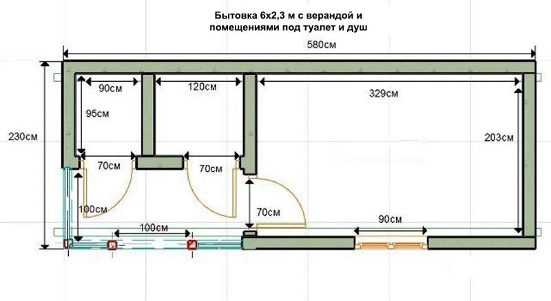 Проект однокомнатной бытовки для дачи с душем и туалетом