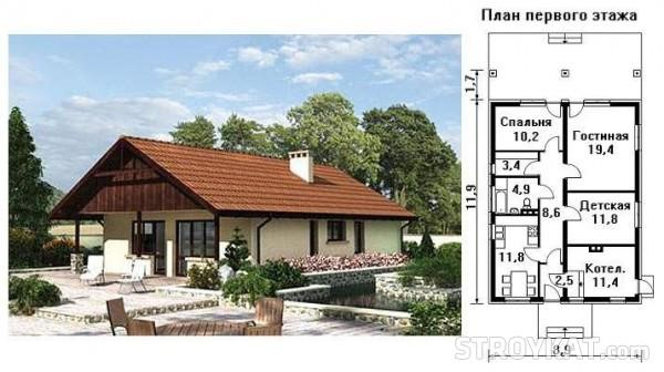 Типовой проект дома с мансардой