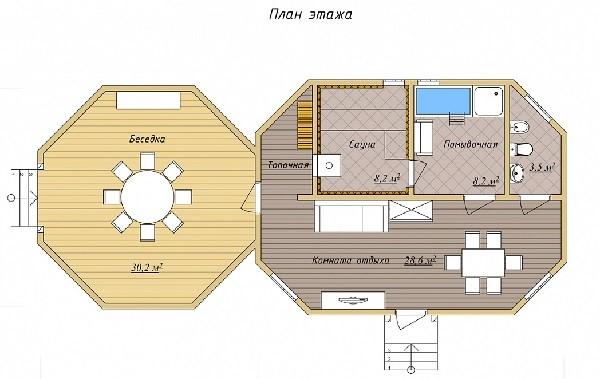 Проект одноэтажного дома с беседкой