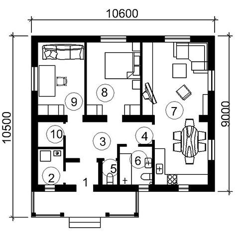 Схема одноэтажного дома с несколькими комнатами