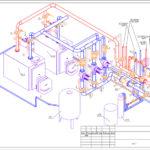 Аксонометрическая схема котлового оборудования с двумя горелками