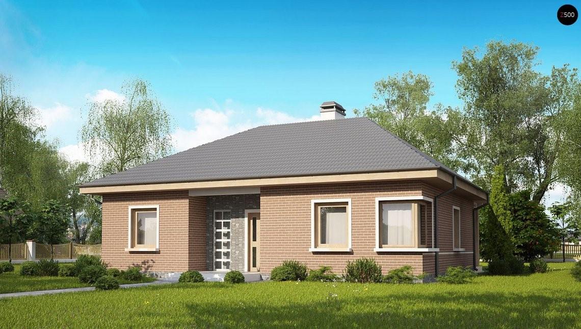 Одноэтажный дом с кирпичным фасадом