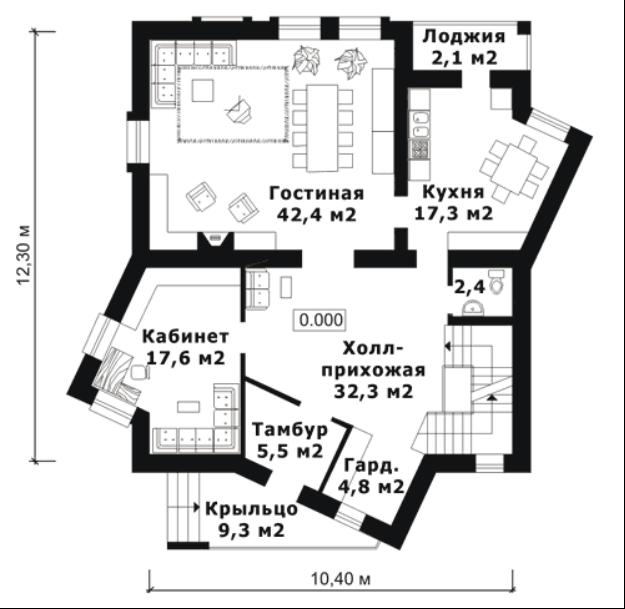 Одноэтажный дом с лоджией