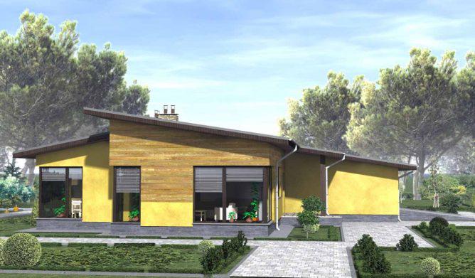 Одноэтажный дом с оригинальным дизайном