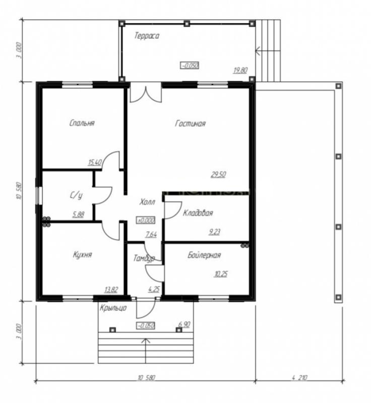 одноэтажный дом план