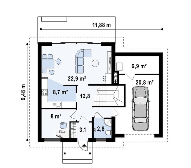 Просторный дом с гаражом и мансардой